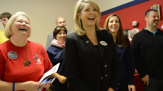 Republican National Committee Co-Chair Sharon Day, center, makes an appearance at the Republican Party of Wisconsin's Green Bay office for a early vote rally Monday.