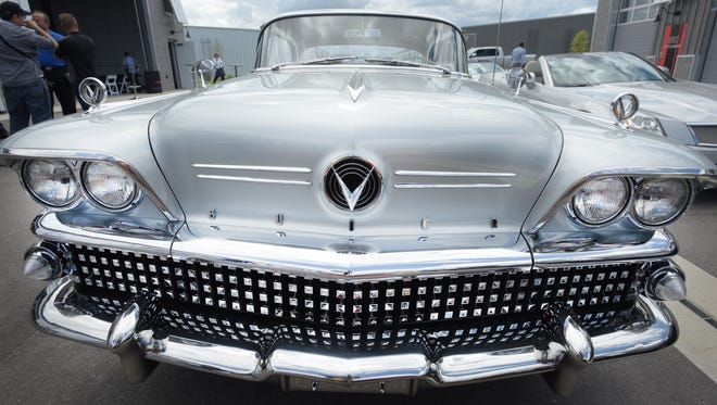 A Buick Century at the Concours d' Elegance Hagerty Motor Tour stop at M1 Concourse in Pontiac.