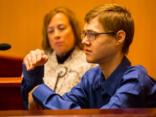 Addison Hartmann testifies during the murder trial for Sera Alexander underway Monday, March 5, 2018, at Drake's Legal Clinic in Des Moines.