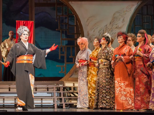 """Elizabeth Batton as Katisha and the cast of Kentucky Opera's production of Gilbert and Sullivan's comic opera """"The Mikado"""" directed by Daniel Pelzig."""