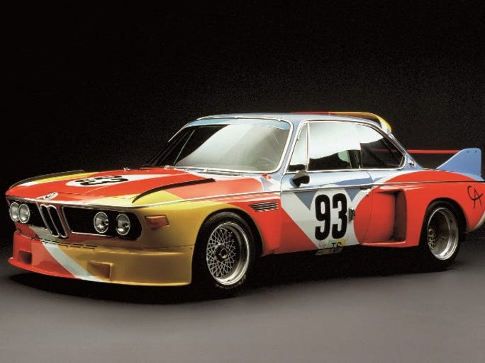This BMW pained by Alexander Calder is estimated to be worth more than $1 million now. It goes on display at the Amelia Island Concours d'Elegance next year
