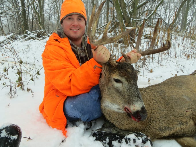 Sean Manion of New London shot this 13-point buck during the muzzleloader season in Outagamie County on December 4, 2013.