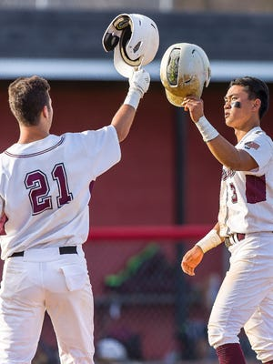 Andrew Eng (right) homered and drove in two runs for Ridgewood against Hackensack.