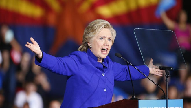 Democratic presidential candidate Hillary Clinton speaks during a rally at ASU in Tempe, Ariz. November 2, 2016.