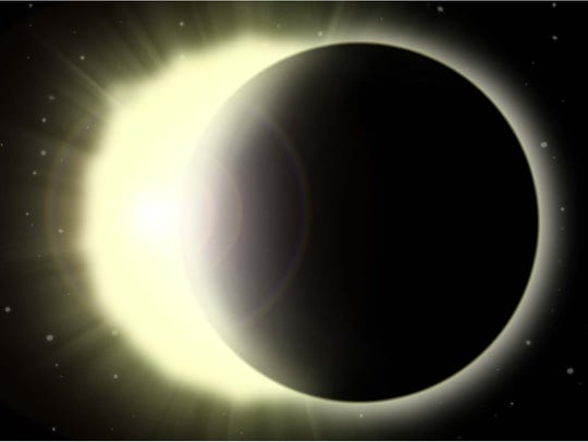 Color illustration of a solar eclipse.