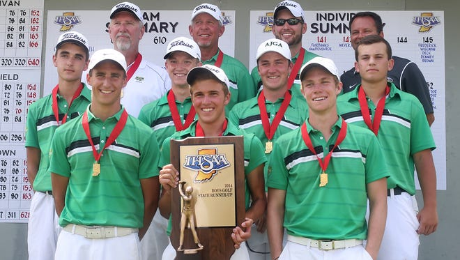 The Westfield Shamrocks hold their runner-up plaque during a photo session after the school finished second in the 78th annual Boys State Finals at The Legends Golf Club in Franklin on Tuesday, June 17, 2014, 11-shots behind Columbus North.
