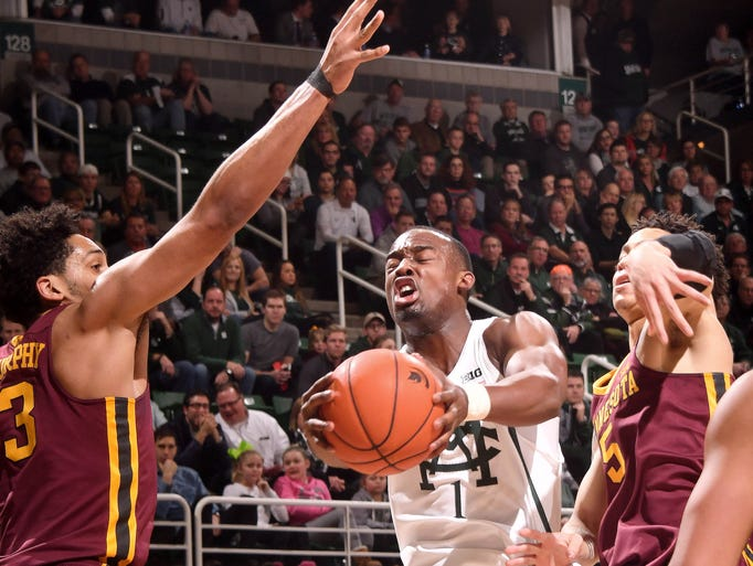 Spartan freshman Joshua Langford battles under the