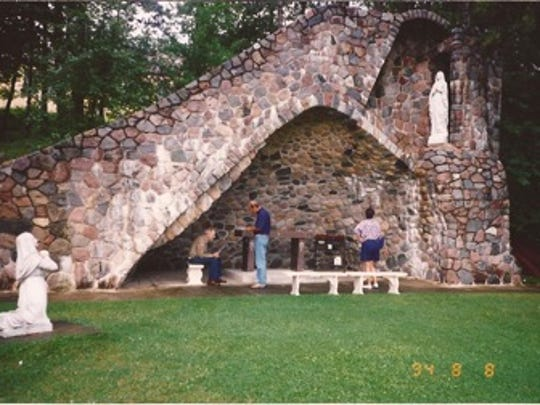 The Grotto at St. Mary's Catholic Church in Two Inlets is an example of stonework by Larry Johnson, who also built the fireplaces in the first reconstructed Great Hall at the Grand Portage National Monument.
