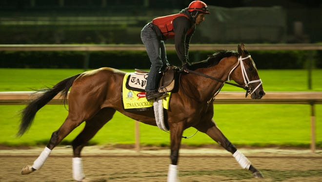 Derby contender Itsaknockout works out in the early morning the day before the 141st running of the Kentucky Derby. May 1, 2015