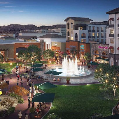 A rendering showing the plaza in front of of the proposed