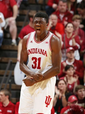 Hoosiers center Thomas Bryant exulted after a play against the Boilermakers last February at Assembly Hall. Indiana defeated Purdue 77-73 en route to the Big Ten conference title. This year, the Hoosiers face match-up problems galore.