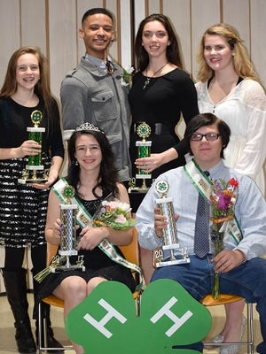 (Seated, from left) Nina Callavini and Wade Espi, and (standing, from left) Larsen Del Collo, Xavyer Dick, Kaitlyn Sickler and Brooke Heer were the 2017 Cumberland County 4-H Ambassador contestants. The judges selected Callavini and Espi as this year's ambassadors.