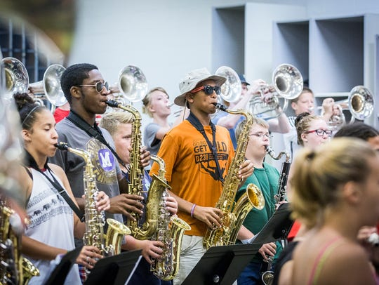 Central's Spirit of Muncie marching band practices