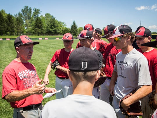 Coach Brian Dudley at Wapahani High School Wednesday,