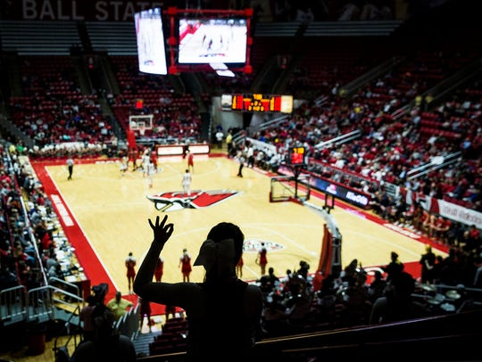 Ball State fans cheer on their team during their game
