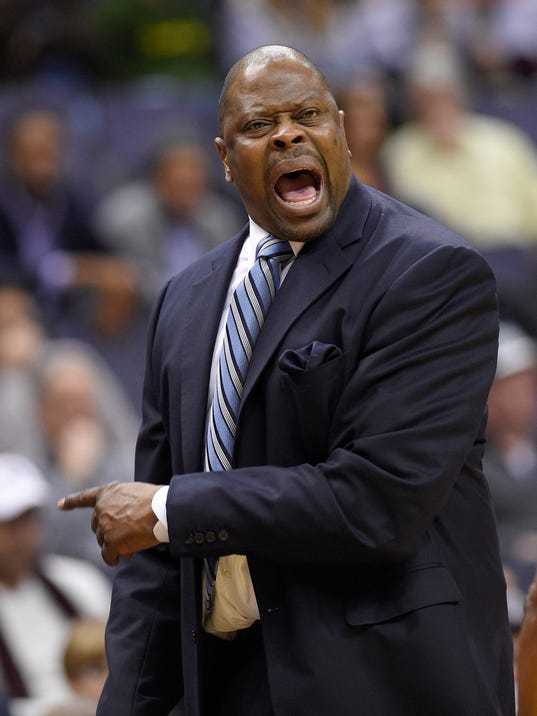 Georgetown head coach Patrick Ewing yells during the first half of an NCAA college basketball game against Jacksonville, Sunday, Nov. 12, 2017, in Washington. (AP Photo/Nick Wass)