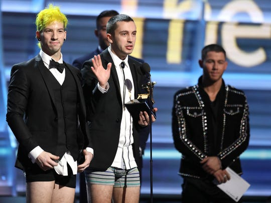 What else is new at Firefly '17? Hopefully pants. In February, Josh Dun, left, and Tyler Joseph of Twenty One Pilots accepted the Grammy Award for Best Pop Duo/Group Performance pantsless.