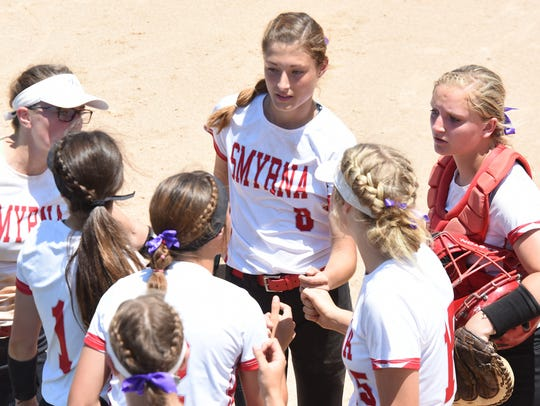Smyrna pitcher Payton Dixon (8), shown here during last year's DIAA championship game, is the Delaware Online Athlete of the Week for Week 2 of the spring season after firing two shutouts last week.