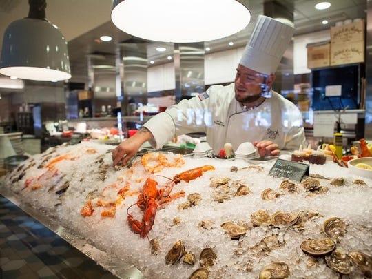 Seafood on display at Ocean 44.