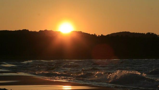 The sun setting.