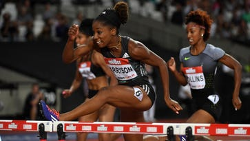 Kendra Harrison (USA) wins the women's 100m hurdles in a world record 12.20 in the London Anniversary Games during an IAAF Diamond League meet at Olympic Stadium in London on July 22, 2016.