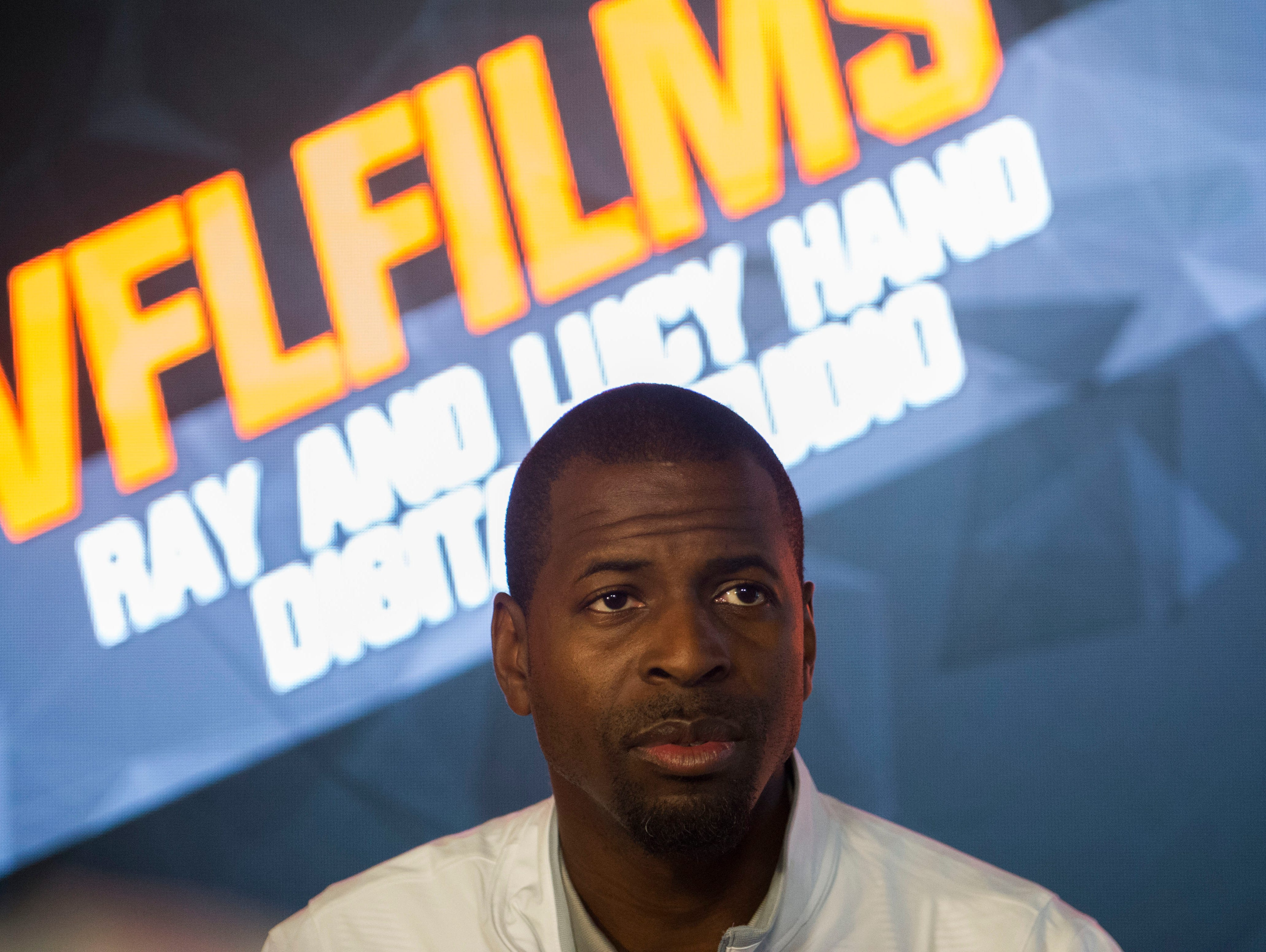 Kevin Beard, University of Tennessee's new wide receiver coach speaks to the media in the Ray & Lucy Hand Digital Studio on UT's campus on Tuesday, March 7, 2017.