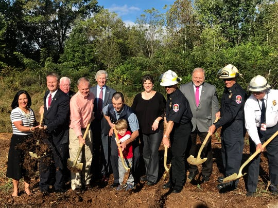 County leaders toss dirt for the new fire station in North Knox County. The station will fill a geographic gap between fire stations in Halls and Powell, particularly relieving pressure off of a busy station further down Emory Road at Norris Freeway.