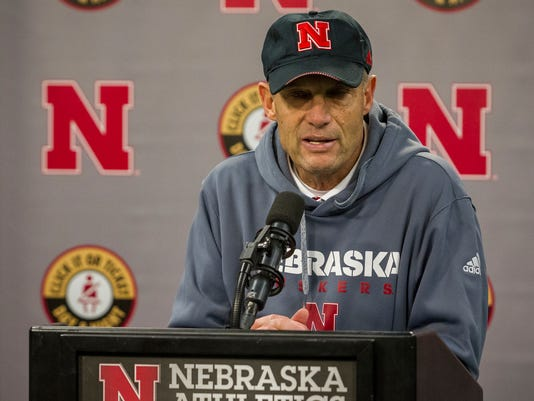 Nebraska head coach Mike Riley speaks at a news conference after suffering a loss to Iowa in an NCAA college football game in Lincoln, Neb., Friday, Nov. 24, 2017. (AP Photo/John Peterson)