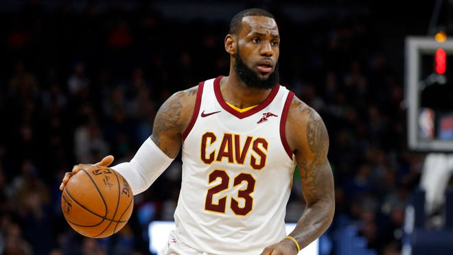 Cleveland Cavaliers' LeBron James plays against the Minnesota Timberwolves in the second half of an NBA basketball game Monday, Jan. 8, 2018, in Minneapolis. (AP Photo/Jim Mone) ORG XMIT: MNJM10