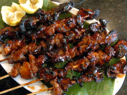 Pork kebabs at New Barbecue Pit, at 100 N. Washington Ave., which is participating in the food crawl.