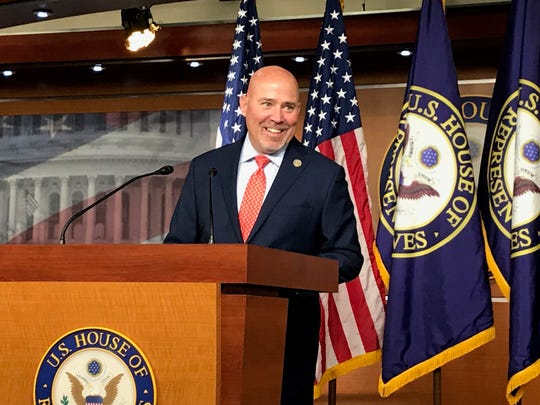 Rep. Tom MacArthur, R-Ocean County, arrives for a news conference of the House Bipartisan Heroin Task Force on June 27, 2017.