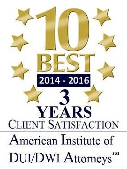 The American Institute of DUI/DWI Attorneys is a third-party attorney rating organization that publishes an annual list of the Top 10 DUI attorneys in each state.