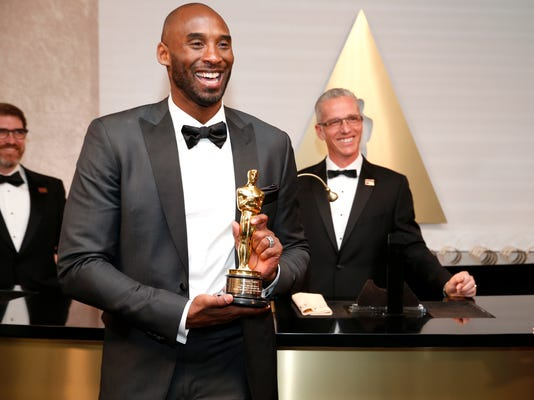 "Kobe Bryant, winner of the award for best animated short for ""Dear Basketball"", attends the Governors Ball after the Oscars on Sunday, March 4, 2018, in Los Angeles. (Photo by Eric Jamison/Invision/AP)"
