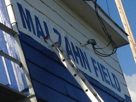 Finishing touches were being made to the press box in Hughes, Arkansas, where the high school's football field will be named for Gus Malzahn on Monday.