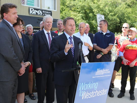 County Executive Rob Astorino announces the beginning of the construction process of the extension of the county trailway Aug. 4, 2016, at the trail head in Elmsford. The extension will connect the North County and South County Trailways at Route 119 in Elmsford.