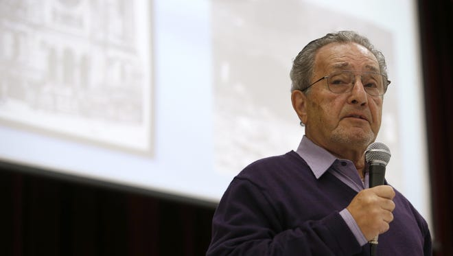 Pieter Kohnstam speaks to students at Montford Middle School on Friday about the horrors of the Holocaust and fleeing Nazi-occupied Germany.