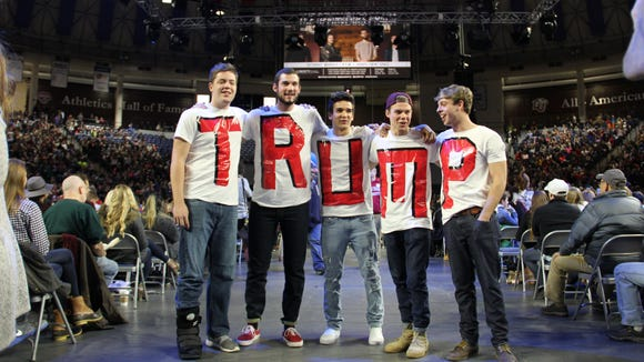 Five Liberty students, dressed in support of Donald