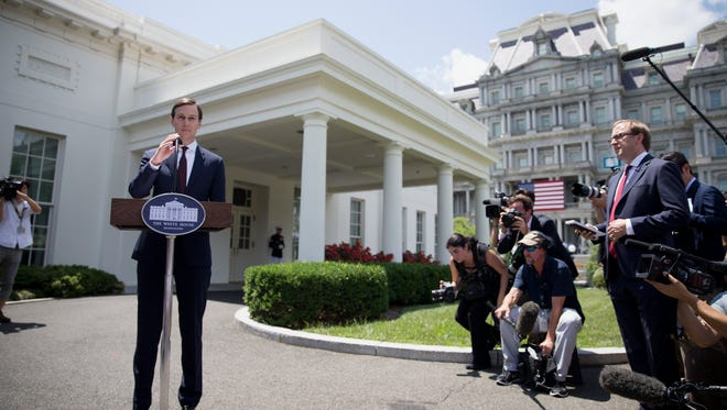Jared Kushner speaks outside the West Wing of the White House after making a statement to members of the news media on July 24, 2017.