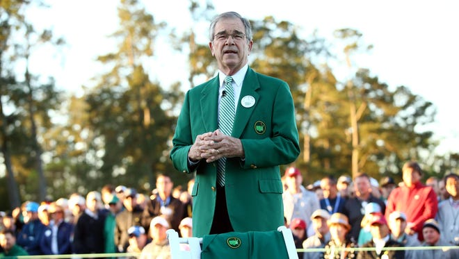 Augusta National Golf Club chairman Billy Payne speaks during the first round of The Masters golf tournament at Augusta National Golf Club.