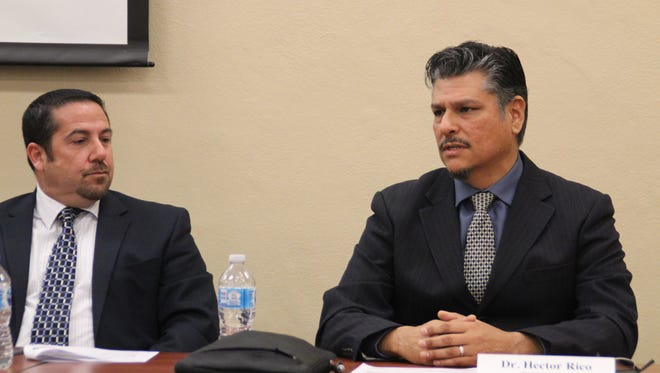Salinas Union High School District Superintendent Dan Burns looks on as Alisal Union School District Superintendent Hector Rico discusses measures taken to safeguard students at a press conference Monday morning.