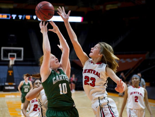 Carter's Sarah Irwin and Central's Blair fight for