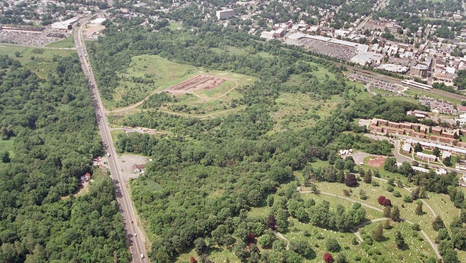 A 2000 aerial photograph of the Somerville landfill looking north from the intersection of Route 206 and South Bridge Street.