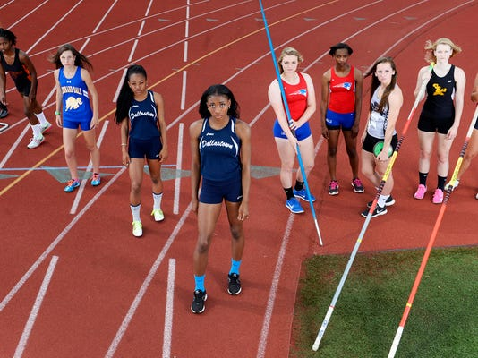 The GameTimePA.com YAIAA girls' track and field all-stars are, from left: Dallastown's Taylor Forrester, Central York's Erin Wilson, Kennard-Dale's Maddie Ferner, Dallastown's Haven Evans, Dallastown's Amari Johnson, New Oxford's Madi Smith, New Oxford's Ayanna Johnson, South Western's Hannah Glover, Delone Catholic's Grace Riedel, and Central York's Alexis Baublitz. Not pictured are Littlestown's Bre Smith, York County Tech's Kirstyn Evans and South Western's Lynne Mooradian.