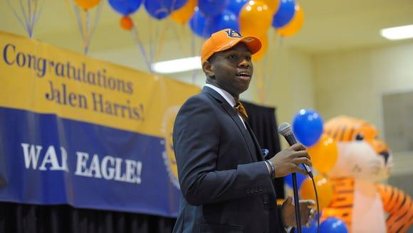 St. James High School's Jalen Harris announces that