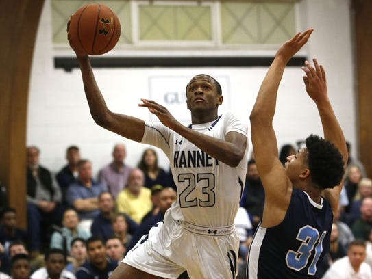 Scottie Lewis (23) of the Ranney School drives to the basket during a game in the 2016-2017 season against Mater Dei Prep