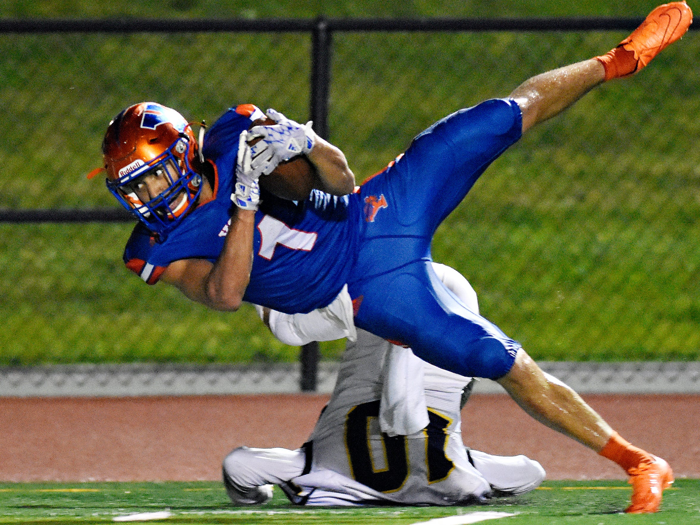 York High's Dayjure Stewart dives for the end zone in a game last season. DISPATCH FILE PHOTO.