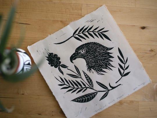 "Jenn Tanay's ""Eagle and Prairie Flowers."""