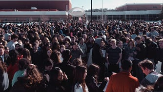 More than 800 students walked out of Watchung Hills Regional High School for the 17-minute nationwide protest that began at 10 a.m. March 14.