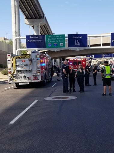 Emergency services outside Phoenix Sky Harbor while Terminal 4 was on lockdown, Sept. 16, 2018.