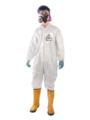 This product image released by BrandsOnSale  shows a hazmat costume with a respirator. There could also be  Ebola zombie and, sexy Ebola patients. But some fail to see the humor or fun in using Ebola as an idea for Halloween.